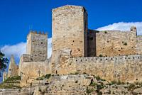 Exterior view of Castello di Lombardia in Enna city and comune located in the province of Enna at the center of Sicily in southern Italy.