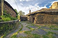 Typicas rural houses and pedestrian street in Campillo de Ranas. Guadalajara. Spain. Europe.