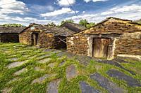 Rural house of slate in El Espinar. Guadalajara. Spain. Europe.