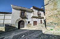 Steep street in Yanguas. Soria. Spain. Europe.