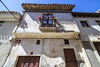 Balcony with pots in Yanguas. Soria. Spain. Europe.