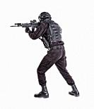 Police anti terrorism squad fighter, SWAT team shooter ready for fight, moving forward with wariness, keeping weapon ready for shoot, aiming service r...