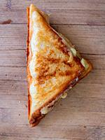 toasted sandwich on a wooden cutting board.