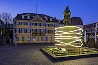 Bonn, D-Bonn, Rhine, Sieg, Kottenforst, Rhineland Nature Reserve, Rhineland, North Rhine-Westphalia, NRW, Minster Square, Beethoven memorial, statue, ...