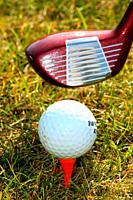 Golf club next to teed golf ball Ystad, Scania, Sweden.