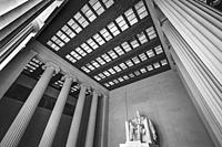 Tall Columns Abraham Lincoln Statue Memorial Monument Washington DC. Dedicated 1922, statue by Daniel French. Black and White.