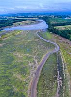 Aerial View, Marshes, Ria de Cubas, Miera river, Ribamontan al Mar Municipality, Marina de Cudeyo, Cantabria, Cantabrian Sea, Spain, Europe.