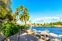 Embankment in Aswan at sunny summer day, Egypt.