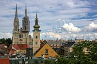 Views & cathedral of the Assumption of the Blessed Virgin Mary, Zagreb, Croatia.