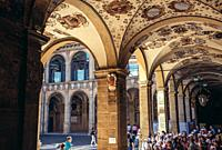 Archiginnasio of Bologna university building, oldest university in the world in Bologna, capital and largest city of the Emilia Romagna region, Italy.