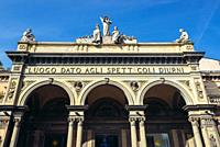 Facade of Arena del Sole theater in Bologna, capital and largest city of the Emilia Romagna region in Northern Italy.