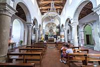 Nave of Chiesa Madre di Savoca small church in Savoca comune, famous for filming locations of The Godfather movies on Sicily Island in Italy.