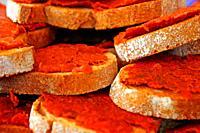 bread with sobrasada, All Those Food Market 2019, Barcelona, ??Catalonia, Spain