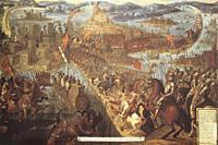 Conquest of Tenochtitlan by Hernan Cortes. Naval warfare details. Unknown 17th Century artist.