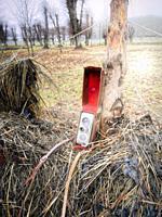 Vintage movie camera in red velvet lined leather case on old hay drying rack, Sweden