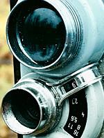 Close up lenses of old retro vintage movie camera