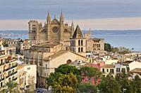 Catedral de Palma (La Seu)(s. XIV-XVI) y iglesia de La Santa Creu (s. XIV). Barrio marinero del Puig de Sant Pere y catedral de Mallorca. Palma. Mallo...