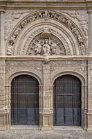 puerta del norte o de san Jerónimo,1559, estilo plateresco, catedral de Santa María de Calahorra, Calahorra, La Rioja , Spain, Europe.