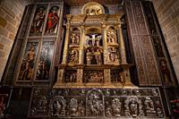 Capilla de la Visitación, retablo-tríptico plateresco, catedral de Santa María de Calahorra, Calahorra, La Rioja , Spain, Europe.