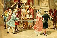 Paris, France. Princess Elisabeth of France leaving the opera. Sister of Louis XVI. 1764-1794. Antique illustration. Book of history. 1897.