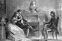 Camille Desmoulins (born 1760, died 1794), jacobin, journalist and politician with his spouse Lucile. French revolution. Talking with a military. Anti...