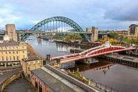 The Tyne and Swing bridges over the River Tyne, connecting Newcastle upon Tyne and Gateshead, UK.