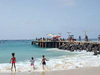 The jetty at the beach Praia de Santa Maria. The island Sal, Cape Verde, an archipelago in the equatorial atlantic in Africa.