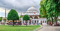 "Istambul, Turkey â. "" 07. 12. 2019. Tomb of Sultan Ahmet on a cloudy summer day, Istanbul, Turkey."