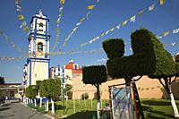 View to the Iglesia San Andres Apostol Church at the town center, Cholula, Puebla State, Mexico, Central America