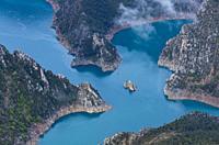 Canelles Reservoir, Montrebei gorge, Congost de Mont-rebei, Montsec Range, The Pre-Pyrenees, Lleida, Catalonia, Spain, Europe.