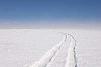 Car tracks on Vatnajokull Ice Cap, Iceland.