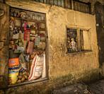 Zanzibar. Grocer shop in a typical Stone Town alley.