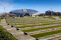 Panoramic view. Sport palace and Parque de la Vaguada de Las Llamas, Santander. Cantabria, north north Spain. Europe.