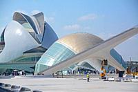 Santiago Calatrava's Hemisferic building and the Palau de Les Arts Reina Sofia. Ciudad de las Artes y las Ciencias, an architectural, cultural and ent...