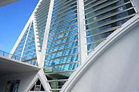 Detail of Santiago Calatrava's Museo de las Ciencias Principe Felipe. Ciudad de las Artes y las Ciencias, an architectural, cultural and entertainment...