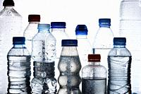 Water bottles and white background.
