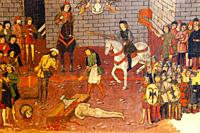 retablo de San Jorge, predela, decapitacion de San jorge , años 1468-1470, Pere Niçard, óleo sobre madera,Palau Episcopal, -Museu Diocesà de Mallorca...
