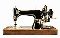 Vintage sewing machine white isolated.