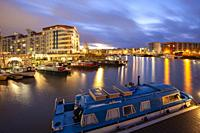 Winter dawn at Bristol Harbour, England.
