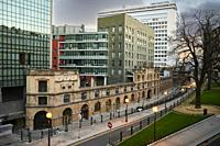 View of Modern Building and Ancient Warehouse, Bilbao, Basque Country, Biscay, Euskadi, Euskal Herria, Spain, Europe.