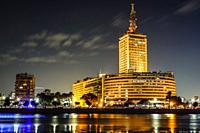Cairo, Egypt, Skyline at night and the Nile river.