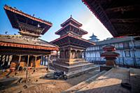 Ancient temples at Kathmandu Durbar Square in Nepal.