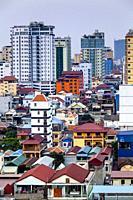 An Elevated View Of The Phnom Penh Skyline, Phnom Penh, Cambodia.