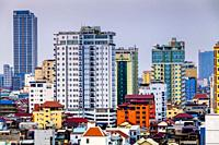 An Elevated View Of The Phnom Penh Skyline, Phnom Penh, Cambodia.