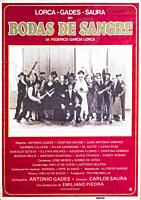 Film poster, 1979, from Carlos Saura of Bodas de Sangre, Garcia Lorca, with Antonio Gades, Cristina Hoyos.