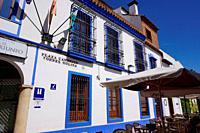A colorful building on Plaza Canonigo Torres Molina. City of Cordoba, Andalucia, Spain, Europe.