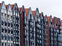 Poland. Gdansk. New buildings in Gdansk Old Town. They reasemble in new form those destroyed during WW2