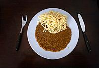 Spätzle ( egg noodles ) and lentils , southern german specialty