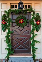 Natural door decorations for the Christmas Holliday Season, Colonial Williamsburg Virginia.