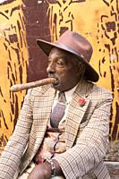 Cuban man with Cigar, Old Town, UNESCO World Heritage Site, Havana, Cuba